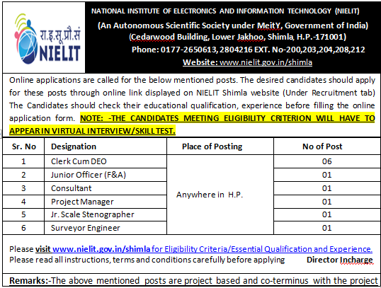 Nielit Shimla Recruitment 2020 |Online applications are called for Clerk Cum DEO,Junior Officer (F&A),Consultant,Project Manager,Jr. Scale Stenographer,Surveyor Enginee